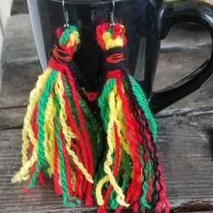 Rasta Tassel earrings Handmade Reggae Style